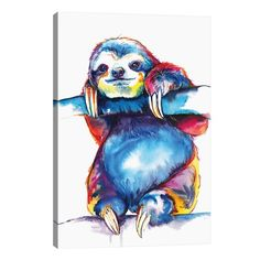 Bunte FAULTIER Kunstdruck – original-Aquarell – helle Dekor (kostenloser Versand) Colorful SLOTH art print from original watercolor Watercolor Print, Watercolor Paintings, Watercolor Portraits, Sloth Tattoo, Painting Prints, Art Prints, Rainbow Decorations, Colorful Animals, Colorful Animal Paintings