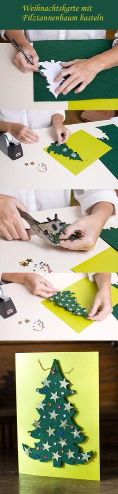 Weihnachtskarte mit Filz-Tannenbaum Application -  DIY christmas card with felt christmas tree application