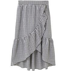 MANGO Gingham print skirt ($50) ❤ liked on Polyvore featuring skirts, flounce skirt, flouncy skirt, frilly skirt, wrap skirt and print skirt