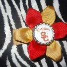 Sporty Bottlecap Flower NCAA USC Trojans Logo Hair Bow ~ Free Shipping