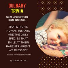 Qulbaby Trivia: Smiles are reserved for human babies only. Baby Trivia, Trivia Facts, Human Babies, Infant, Smile, Movie Posters, Movies, Films, Baby