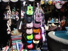 Olvera Street, in downtown Los Angeles. Colorful Guitars. #colorfulguitars. #colors, #guitars.