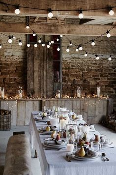 Rustic decor with lights.