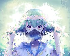 flower crown by lluluchwan on DeviantArt Sad Anime, Manga Anime, Blue Anime, Beautiful Anime Girl, Anime Artwork, Art Girl, Anime Characters, Animation, Drawings