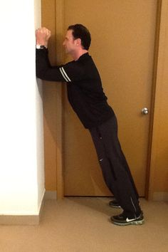 Standing Plank: Stand with your body angled toward a wall and your feet behind your hips. Lean forward, place your forearms on the wall—about shoulder-width apart—and walk your feet back as far as you can without lifting your heels. Press the forearms into the wall for 30 to 60 seconds. Do this 3 times.