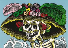 "Day Of The Dead - El Dia De Los Muertos - All Souls Day: The Day of The Dead - Jose Posada ""Calavera de la Catrina"" Colorful Drawing featuring a stuck up rich woman who is defeated by time. She is now reduced to a saggy velvet dress and a decorative oversized hat. ""Calaveras"" (meaning, literally, ""skeletons"") are satirical poems that make fun of the stuck-up or snobs."