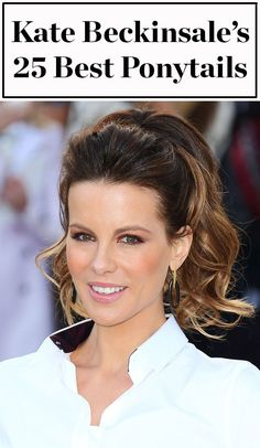 Kate Beckinsale is Hollywood's undisputed ponytail queen! Click ahead to see 25 times she's worn her signature high ponytail hairstyle over the years