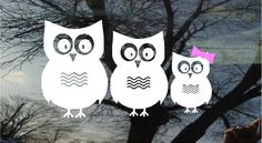 Vinyl Car Window Decal 4h x 9 - Set of 3 owls...PaPa, MaMa, and one little ones - really cute family FREE Pink Bows for the little girls. $7.00, via Etsy.