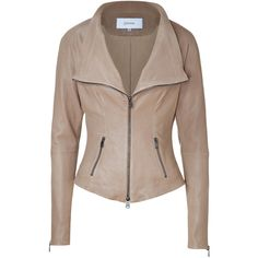 JITROIS Warm Beige Tailored Stretch Leather Jacket ($1,307) ❤ liked on Polyvore featuring outerwear, jackets, coats, tops, leather jackets, stretch jacket, brown leather jacket, genuine leather jackets, slim leather jacket and tailored jacket