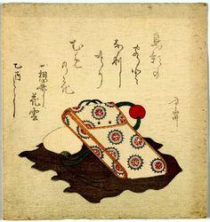 A surimono print showing a tabako-ire (tobacco pouch)