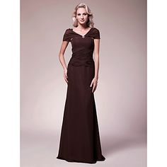 Sheath/Column V-neck Floor-length Chiffon Mother of the Bride Dress – USD $ 149.99