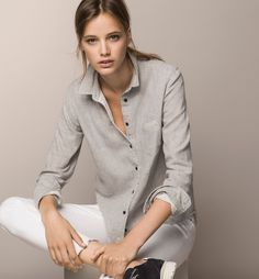 GREY DOUBLE FABRIC SHIRT - Best Sellers - Shirts & Blouses - WOMEN - United States - Massimo Dutti