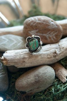 Vintage Ring   Sterling Silver and Turquoise  by Chicksinthestixs, $45.00