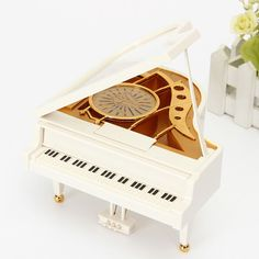 Beautiful 2016 White Piano Mechanical Music Box w/Dancing Ballerina
