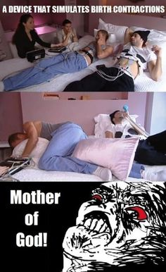 men experience birth contractions,lol.