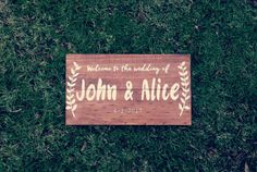 This item is unavailable Wedding Date Sign, Wedding Signs, Custom Wooden Signs, Online Print Shop, White Ribbon, Personalized Wedding, Photo Props, Wedding Events, Hand Lettering