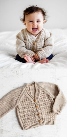 Looking for your next knitting project? Try this children's raglan cardigan with basic textured stitches.  #knittingkit #diy #craft #knit #knitting #knittinghobby #diyknitting #craftknitting #knittingcardigan #knittingproject #knittingbabyclothes #kiraracolours #afflink