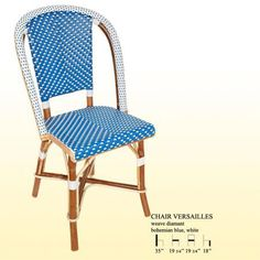 Original Handmade French Bistro chair by Maison Gatti in Bohemian Blue and White
