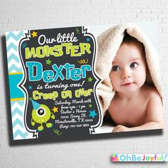 Monster Birthday Invitation 1st 2nd 3rd Any Age by ohbejoyfulshop
