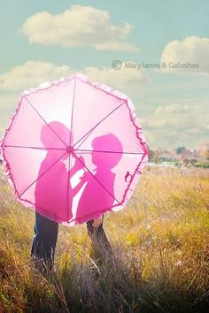 with kids or a just married couple. Umbrella could have the date or names or 'just married' written on it.