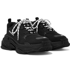 Black Balenciaga Sneakers, Black Shoes Sneakers, Balenciaga Shoes, Leather Sneakers, Jordan Shoes Girls, Girls Shoes, Balenciaga First, Rainbow Sneakers, Chunky Shoes