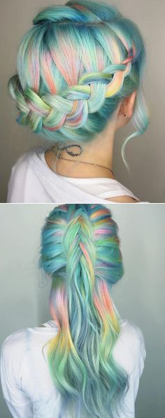 pastel hair with braids, so mermaidy! Half up, half down [ Hair Color // Rainbow / Green & Blue & Pink & Orange & Yellow ] Unicorn Hair Color, Coloured Hair, Mermaid Hair, Mermaid Makeup, Crazy Hair, Hair Day, Pretty Hairstyles, Rainbow Hairstyles, Hairstyle Ideas