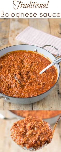 This traditional Bolognese sauce is made using all the authentic ingredients like beef, pork, fresh tomato purée, then cooked low and slow for hours to develop a rich, hearty taste. (Bake Meatballs For Spaghetti) Beste Bolognese Sauce, Beef Bolognese Recipe, Italian Spaghetti Bolognese Recipe, Traditional Spaghetti Bolognese, Homemade Bolognese Sauce, Bolognese Pasta, Beef Recipes, Cooking Recipes, Fast Recipes
