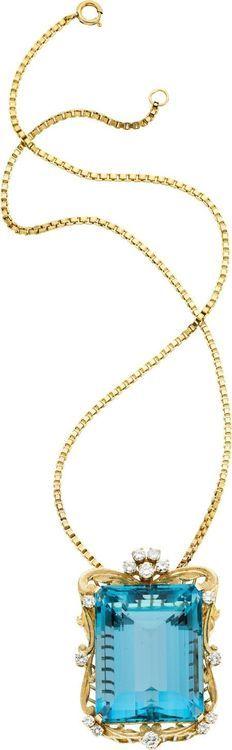 Estate Jewelry:Pendants and Lockets, Aquamarine, Diamond, Gold Pendant-Necklace.