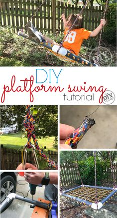 for kids - DIY platform swing tutorial. for kids - DIY platform swing tutorial. Diy For Kids, Crafts For Kids, Summer Crafts, Sensory Swing, Platform Swing, Diy Swing, Diy Kids Furniture, Painted Furniture, Outdoor Activities For Kids