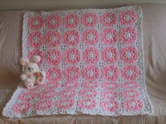Petal Pink Floral Baby Afghan ~ wouldn't this be pretty with different colored flower centers?