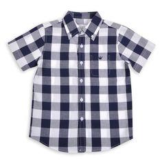 Camisa para niños de cuadros azul marino