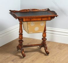 Victorian Burr Walnut & Leather Sewing Table - Antiques Atlas