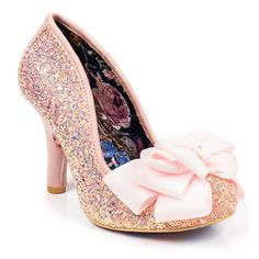 Be a pretty pastel princess in these gorgeous, girly, pink glitter encrusted high heels. Comes with a holographic glitter upper and a large triple layered bow with a small irregular choice charm on the toe.