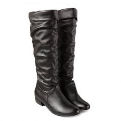 British Style Women's Knee-High Boots With Solid Color and Ruffle Design