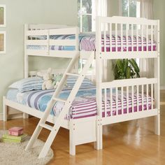 This wood twin/full-size bunk bed makes a great space-saving addition to your home. The top bunk features a protective railing to keep your child from rolling off, and the bottom platform can be quickly converted into a more spacious