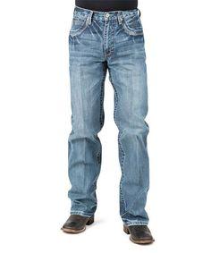 Blue V-Stitched Deco Pocket Straight-Leg Jeans