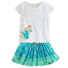 Disney Anna and Elsa Top and Skirt Set for Girls | Disney StoreAnna and Elsa Top and Skirt Set for Girls - Arendelle's fashionable sisters are frozen in a quaint pose on the front of the pretty top that features an overlay of eyelet fabric. Sequins and glitter add sparkle, while the coordinating skirt adds a colorful element to this set.