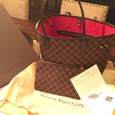 Louis Vuitton never full MM damier w tags Bought this at sacks and I barely use it! Decided to sell it. Excellent condition with box, all tags and receipt and little purse that comes with it. No trades or outside Poshmark purchases, thanks. Louis Vuitton Bags Totes