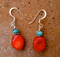 Red coral with turquiose semiprecious chips and by IfetayoArtwear