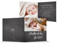 schwarze Geburtskarte Baby Filmlook, Foto, weiße Kreideschrift