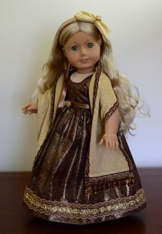 """""""Holiday Dinner"""" Regency Dress, Outfit, Clothes for 18"""" American Girl Caroline #LuminariaDesigns"""