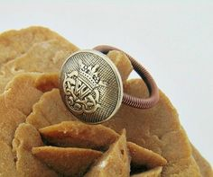 Button Ring ring wire wrap Vintage style button Art by styledonna