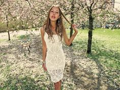 Handmade crochet knee length dress white. Emma O Clothing. One of these will be my first summer purchase.