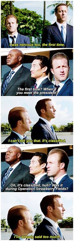hawaii five 0 mcdanno alex o'loughlin scott caan daniel dae kim chi mcbride h50: 4x09 chin and grover trying not to laugh in the background is the greatest