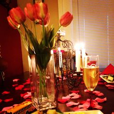 My romantic evening with sparkling cider and hubby