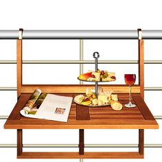 Details about Hanging balcony table folding wooden side snack table garden dining table Hanging Balcony Decor, Furniture, Small Furniture, Table, Acacia Wood Table, Wooden, Balcony Bar, Dining Furniture, Table Shelves