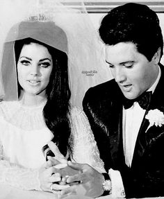 Elvis and Priscilla Presley on their wedding day in Las Vegas, NV, on May 1, 1967.