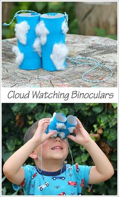 Cloud Watching Binoculars Craft for Kids Using Cardboard Tubes- Use these on your next outdoor walk or for a science unit on weather! ~ BuggyandBuddy.com
