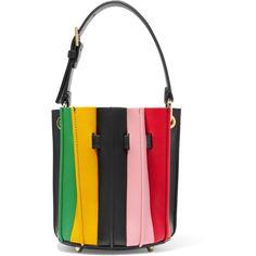Sara Battaglia Plissé mini leather bucket bag ($565) ❤ liked on Polyvore featuring bags, handbags, shoulder bags, sara battaglia, white handbag, leather handbags, leather bucket handbags, bucket bag purse and white leather shoulder bag