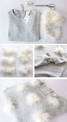 DIY Anleitung zum Selbermachen: Verzierter Pompon Pullover How to make your own pompoms DIY tutorial and design a fancy jumper with them. Diy Clothes Tutorial, Shirt Tutorial, Diy Tutorial, Diy Pullover, Alter Pullover, Diy Fashion, Ideias Fashion, Diy Kleidung, Sewing Shirts